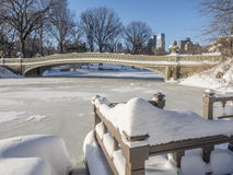 Bow bridge after snow Stock Images
