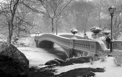Bow bridge after snow storm Stock Photo