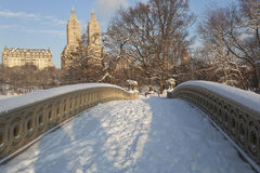 Bow bridge after snow storm Royalty Free Stock Image