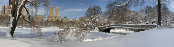 Bow bridge after snow storm Stock Images