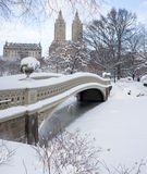 Bow bridge after snow storm Stock Photos
