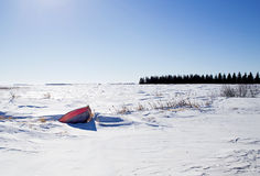 Bow of canoe in snow Stock Image