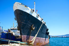 Bow of a cargo vessel Stock Images