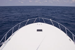 Bow of Charter Fishing Boat. The bow of a charter fishing boat in the Gulf Stream stock image