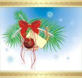Bow and Christmas ball on the fur-tree. Card Stock Photos