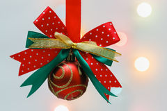Bow with christmas balls. Bow with Christmas ball with background lighting Royalty Free Stock Photos