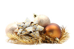 Bow with Christmas ornaments Royalty Free Stock Photos