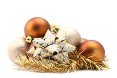 Bow and Christmas ornaments Royalty Free Stock Photos