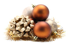 Bow and Christmas ornaments Royalty Free Stock Photography