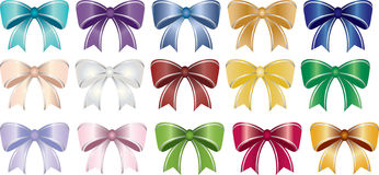 Bow Collection. This is a beautiful collection of multicolored bows with pinstriped ribbons. Very elegant design and color Royalty Free Stock Images