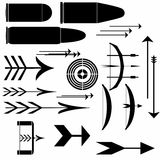 Bow, crossbow, arrows, bullet. Collection bow, crossbow, arrows, targets and bullet Royalty Free Stock Image