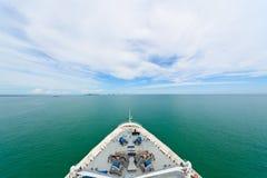 Bow of a cruise ship. Cruise ship in open sea showing the bow, sea and sky Stock Photos