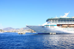 The bow of a cruise ship. The front of a big cruise ship docked at a mediterranean port Royalty Free Stock Photo