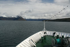 Bow of cruise ship. In Strait of Magellan,Martinez Fjord, Patagonia Royalty Free Stock Photo