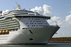 Bow of cruise ship. Leaving port for a dream vacation Stock Image