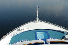 Bow of a cruise ship. The bow of a cruise ship out in the open waters Royalty Free Stock Image
