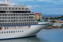 Bow of Cruise Ship in Barbados. A huge luxury cruise ship docked in the Caribbean port of St Lucia Stock Photo