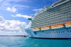 Bow of a cruise ship. Huge ocean liner at sea Stock Photos