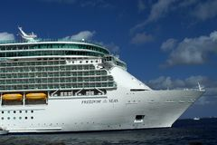 Cruise ship in the harbor on Grand Cayman. Bow of a cruise ship moored in the harbor off of Grand Cayman, Cayman Islands Stock Photography
