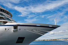 Bow of a cruise ship. Cruise ship in the port of Zadar Stock Photo