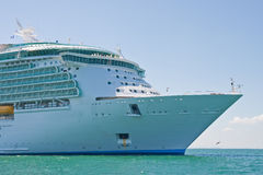 Bow of Cruise Ship at Sea. The bow of a luxury cruise ship out to sea Royalty Free Stock Image