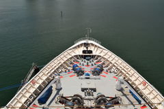Bow of a cruise ship. A view of the bow of a cruise ship on the Atlantic Ocean Royalty Free Stock Photo
