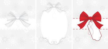 Bow on the decorative background with snowflakes Stock Image