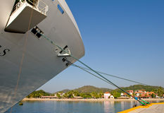 Bow of docked cruise ship Stock Photography