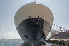 Bow of a docked cruiseship Royalty Free Stock Images