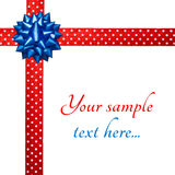 Bow on dotted ribbon. Dotted ribbon and bow with copy-space Stock Photo