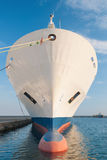 Bow of dry cargo ship. Bulbous bow of dry cargo ship docked in harbor Royalty Free Stock Photography