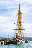 Bow End View of a Tall Ship. This bow end view is of a sail training, tall ship, located at the entrance to Weymouth Harbour in the South of England Royalty Free Stock Photos