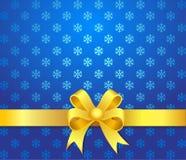 Bow för julbakgrundsyellow Royaltyfri Foto