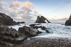Bow Fiddle Rock on the Moray Coast of Scotland Stock Photo