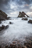 Bow Fiddle Rock on the Moray Coast of Scotland Stock Photos