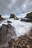 Bow Fiddle Rock on the Moray Coast of Scotland Stock Photography