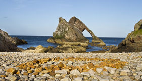 Bow Fiddle Rock with wide angle view, Portknockie, Scotland Stock Images
