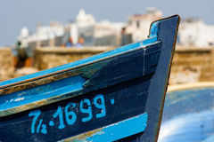 Bow of a fisherman boat in Essaouira port, Morocco royalty free stock images