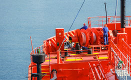 Bow fragment with equipment of LPG tanker. Bow fragment with equipment of Red Liquefied Petroleum Gas tanker Royalty Free Stock Photos