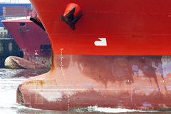 Bow of a freight vessel Stock Images