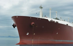 Bow of gas tanker. Bow of an anchored liquefied gas carrier Stock Photos
