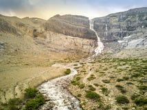 Bow Glacier Falls and stream, Banff National Park, Alberta, Cana royalty free stock photography