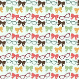 Bow and glasses. Cute love seamless pattern with bows, ribbons and glasses in vector stock illustration