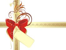 Bow on the gold ribbon with ornament Royalty Free Stock Photography