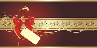 Bow on the gold ribbon with ornament. Banner Royalty Free Stock Photo