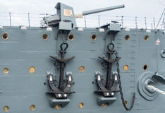 Bow gun of the cruiser Aurora in St. Petersburg, Russia. Royalty Free Stock Photos