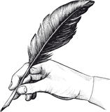 Bow_hand(24). Vintage drawing of hand with a feather pen in style of an engraving Vector Illustration