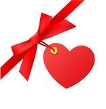 Bow with heart tag Stock Photos