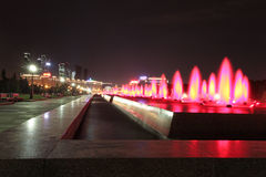 Bow Hill Victory Park fountains and Kutuzovskiy Prospect. Moscow Royalty Free Stock Image