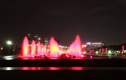 Bow Hill Victory Park fountains and Kutuzovskiy Prospect. Moscow Stock Photos